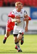 12 September 2015; Rory Scholes, Ulster, is tackled by Daniel Jones, Scarlets. Guinness PRO12, Round 2, Scarlets v Ulster, Parc Y Scarlets, Llanelli, Wales. Picture credit: Chris Fairweather / SPORTSFILE