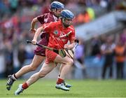 13 September 2015; Briege Corkery, Cork, on her way to scoring her side's only goal of the game from Therese Manton, Galway. Liberty Insurance All Ireland Senior Camogie Championship Final, Cork v Galway. Croke Park, Dublin. Picture credit: David Maher / SPORTSFILE