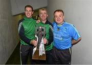 12 September 2015; Limerick manager John Kiely, centre, along with members of his backroom team, Kieran Hickey, left, and Conor Reale, right, celebrate with the Cross of Cashel trophy after victory over Wexford. Bord Gais Energy GAA Hurling All-Ireland U21 Championship Final, Limerick v Wexford, Semple Stadium, Thurles, Co. Tipperary. Picture credit: Diarmuid Greene / SPORTSFILE