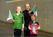 12 September 2015; Limerick supporters, and sisters, Catriona, aged 7, Sarah, aged 10, and Molly Dillon, aged 4, from Pallasgreen, Co. Limerick, before the game. Bord Gais Energy GAA Hurling All-Ireland U21 Championship Final, Limerick v Wexford, Semple Stadium, Thurles, Co. Tipperary. Picture credit: Diarmuid Greene / SPORTSFILE