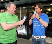30 March 2009; Former Italian international Toto Schillaci and Ray Houghton enjoy an ice cream at the launch of Boylesports' supporters promotion for Irish fans travelling to Bari for the crunch group 8 game between the Republic of Ireland and the Azzurre. Boylesports, Grafton Street, Dublin. Picture credit: Pat Murphy / SPORTSFILE