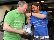 30 March 2009; Former Italian and Republic of Ireland  internationals Toto Schillaci and Ray Houghton enjoy an ice cream at the launch of Boylesports' supporters promotion for Irish fans travelling to Bari for the crunch group 8 game between the Republic of Ireland and the Azzurre. Boylesports, Grafton Street, Dublin. Picture credit: Pat Murphy / SPORTSFILE