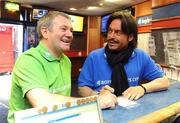 30 March 2009; Former Italian and Republic of Ireland internationals Toto Schillaci and Ray Houghton place a bet at the launch of Boylesports' supporters promotion for Irish fans travelling to Bari for the crunch group 8 game between the Republic of Ireland and the Azzurre. Boylesports, Grafton Street, Dublin. Picture credit: Pat Murphy / SPORTSFILE