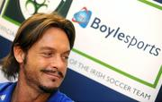 30 March 2009; Former Italian international Toto Schillaci and Ray Houghton place a bet at the launch of Boylesports' supporters promotion for Irish fans travelling to Bari for the crunch group 8 game between the Republic of Ireland and the Azzurre. Boylesports, Grafton Street, Dublin. Picture credit: Pat Murphy / SPORTSFILE