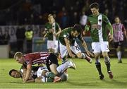 14 September 2015; Billy Dennehy, left and Liam Miller, Cork City, in action against Stephen Dooley, Derry City. Irish Daily Mail FAI Senior Cup Quarter-Final Replay, Cork City v Derry City. Turner's Cross, Cork. Picture credit: David Maher / SPORTSFILE