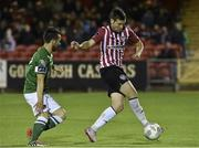 14 September 2015; Patrick McEleney, Derry City, in action against Liam Miller, Cork City. Irish Daily Mail FAI Senior Cup Quarter-Final Replay, Cork City v Derry City. Turner's Cross, Cork. Picture credit: David Maher / SPORTSFILE