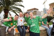 1 April 2009; Republic of Ireland fans Jeff Connaghan, Paul Kenny, Gary Barber and Brian Power, from Dublin, on their way to the game. 2010 FIFA World Cup Qualifier, Italy v Republic of Ireland, San Nicola Stadium, Bari, Italy. Picture credit: Ray McManus / SPORTSFILE