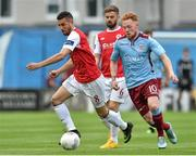 19 September 2015; Ryan Connelly, Galway United, in action against Morgan Langley, St Patrick's Athletic. EA Sports Cup Final, Galway United v St Patrick's Athletic. Eamonn Deacy Park, Galway. Picture credit: Matt Browne / SPORTSFILE