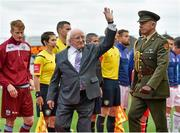19 September 2015; President of Ireland Michael D. Higgins at the game. EA Sports Cup Final, Galway United v St Patrick's Athletic. Eamonn Deacy Park, Galway. Picture credit: Matt Browne / SPORTSFILE