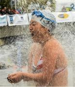 19 September 2015; Jia Jung from New York City showers off after taking part in the Dublin City Liffey Swim. Dublin City Liffey Swim. Dublin. Picture credit: Cody Glenn / SPORTSFILE