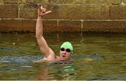 19 September 2015; Tony O'Shields celebrates winning the Dublin City Liffey Swim. Dublin City Liffey Swim. Dublin. Picture credit: Cody Glenn / SPORTSFILE