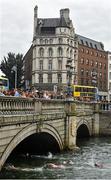 19 September 2015; Female competitors swim under the O'Connell Bridge during the Dublin City Liffey Swim. Dublin City Liffey Swim. Dublin. Picture credit: Cody Glenn / SPORTSFILE