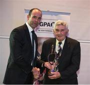 19 September 2015; GPA president Dermot Earley  with  Kerry legend Mick O'Dwyer who received the GPA Lifetime Achievement Awards for football at the GPA Former Players Event in Croke Park. Over 400 former county footballers and hurlers gathered at the annual lunch which is now in its third year. The event is part of the GPA's efforts to develop an active player alumi. Croke Park, Dublin. Picture credit: Ray McManus / SPORTSFILE