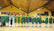 22 February 2009; The Republic of Ireland team line up ahead of the game. UEFA Futsal Championship 2010 Qualifying Tournament, Republic of Ireland v Kazakhstan. National Basketball Arena, Tallaght. Picture credit: Stephen McCarthy / SPORTSFILE