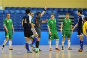 22 February 2009; Referee Gabor Kovacs shows Gary McCabe, Republic of Ireland, 7, a red card. UEFA Futsal Championship 2010 Qualifying Tournament, Republic of Ireland v Kazakhstan. National Basketball Arena, Tallaght. Picture credit: Stephen McCarthy / SPORTSFILE