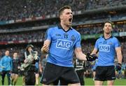 20 September 2015; Dublin's Paddy Andrews celebrates in front of Hill 16 after the game. GAA Football All-Ireland Senior Championship Final, Dublin v Kerry, Croke Park, Dublin. Picture credit: Brendan Moran / SPORTSFILE