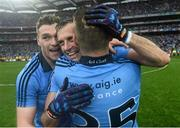 20 September 2015; Dublin players from left, Paddy Andrews, Alan Brogan and Kevin McManamon, celebrate at the end of the game. GAA Football All-Ireland Senior Championship Final, Dublin v Kerry, Croke Park, Dublin. Picture credit: David Maher / SPORTSFILE