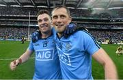 20 September 2015; Alan Brogan, right and Paddy Andrews, Dublin, celebrate at the end of the game. GAA Football All-Ireland Senior Championship Final, Dublin v Kerry, Croke Park, Dublin. Picture credit: David Maher / SPORTSFILE