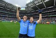 20 September 2015; Dublin's Diarmuid Connolly, left, and Paddy Andrews celebrate following their side's victory. GAA Football All-Ireland Senior Championship Final, Dublin v Kerry, Croke Park, Dublin. Picture credit: Stephen McCarthy / SPORTSFILE