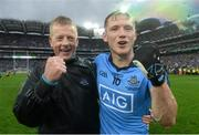 20 September 2015; Paul Flynn, Dublin, celebrates with selector Declan Darcy at the end of the game. GAA Football All-Ireland Senior Championship Final, Dublin v Kerry, Croke Park, Dublin. Picture credit: David Maher / SPORTSFILE
