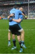 20 September 2015; Paddy Andrews, right, Dublin, celebrates with Alan Brogan at the end of the game. GAA Football All-Ireland Senior Championship Final, Dublin v Kerry, Croke Park, Dublin. Picture credit: David Maher / SPORTSFILE