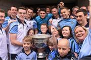 21 September 2015; Dublin players from left, Jack McCaffrey, Denis Bastick, Brian Fenton, Eric Lowndes, Bernard Brogan, Philip McMahon, Johnny Cooper and Nicky Devereux during a visit from the GAA Football All-Ireland Champions Dublin to Our Lady's Children's Hospital, Crumlin, Dublin. Picture credit: David Maher / SPORTSFILE