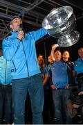 21 September 2015; Dublin's Alan Brogan celebrates on stage with the Sam Maguire cup during the team homecoming. O'Connell St, Dublin. Picture credit: Paul Mohan / SPORTSFILE