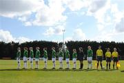 10 April 2009; The Republic of Ireland team stand for the National Anthem. Women's U19 International Friendly, Republic of Ireland v Switzerland, Tolka Rovers, Frank Cooke Park, Dublin. Picture credit: Paul Mohan / SPORTSFILE