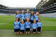 20 September 2015; The Dublin team, back row, left to right, Liadh Barry, Our Lady of Marcy , Bantry, Cork, Amy Curtis, Divine Mercy SNS, Balgaddy, Lucan, Dublin, Auveen O'Neill, Scoil Naomh P·draigh, Ballyroad, Dublin, Maeve Greene, Durrow NS, Tullamore, Offaly, Erris Smith, Scoil Mhuire, Woodview, Lucan, Dublin, front row, left to right, Emer Stynes, St Canice's Co Ed NS, Granges Road, Kilkenny, Abbie McVerry, St Laurence O'Toole's PS, Belleek, Newry, Down, Caoimhe McCormack, St Sinneach's NS, Colehill, Longford, Shanna Fettes, St Malacahy's PS, Kilcoo, Down, and Niamh Bellew, Holy Trinity PS, Monagh Road, Belfast, Antrim. GAA Football All-Ireland Senior Championship Final, Dublin v Kerry, Croke Park, Dublin. Picture credit: Dáire Brennan / SPORTSFILE