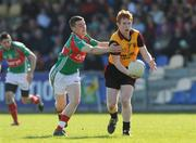 18 April 2009; Mark Digney, Down, in action against Michael Sweeney, Mayo. Cadbury Under 21 All-Ireland Football Championship Semi-Final, Mayo v Down, Pearse Park, Longford. Picture credit: Pat Murphy / SPORTSFILE