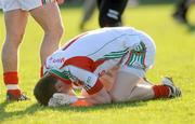 18 April 2009; Mayo goalkeeper Robert Hennelly reacts after the final whistle. Cadbury Under 21 All-Ireland Football Championship Semi-Final, Mayo v Down, Pearse Park, Longford. Picture credit: Pat Murphy / SPORTSFILE