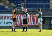 18 April 2009; John Fitzpatrick, Down, is shown the red card by referee Derek Fahy. Cadbury Under 21 All-Ireland Football Championship Semi-Final, Mayo v Down, Pearse Park, Longford. Picture credit: Pat Murphy / SPORTSFILE