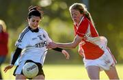 26 September 2015; Therese Scott, Emyvale, Co. Monaghan, in action against Louise Ward, Kilkerrin Clonberne, Co. Galway, in the Senior All-Ireland Ladies Football Club Sevens Championship Final. Naomh Mearnog, Portmarnock, Co. Dublin. Picture credit: Paul Mohan / SPORTSFILE