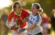 26 September 2015; Siobhan Divilly, Kilkerrin Clonberne, Co. Galway, in action against Rynagh McNally, Emyvale, Co. Monaghan, in the Senior All-Ireland Ladies Football Club Sevens Championship Final. Naomh Mearnog, Portmarnock, Co. Dublin. Picture credit: Paul Mohan / SPORTSFILE