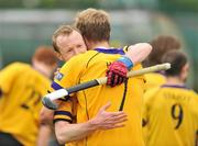 26 April 2009; Colin Kelly, left, Pembroke Wanderers, celebrates with his team-mate Conor Harte at the end of the game. Irish Senior Men's Cup Final, Cookstown v Pembroke Wanderers, National Hockey Stadium, UCD, Dublin. Picture credit: David Maher / SPORTSFILE