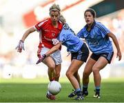 27 September 2015; Valerie Mulcahy, Cork, in action against Fiona Hudson, Dublin. TG4 Ladies Football All-Ireland Senior Championship Final, Croke Park, Dublin. Picture credit: Paul Mohan / SPORTSFILE