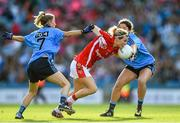 27 September 2015; Valerie Mulcahy, Cork, is tackled by Molly Lamb, right, and Colleen Barrett, Dublin. TG4 Ladies Football All-Ireland Senior Championship Final, Croke Park, Dublin. Picture credit: Ramsey Cardy / SPORTSFILE