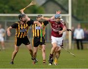 27 September 2015; Paddy McGill, Ruairi Og Cushendall, in action against Fergus Donnelly and Ciaran Clarke, Ballycastle McQuillan. Antrim Senior Championship Hurling Final, Ruairi Og Cushendall v Ballycastle McQuillan, Dunloy GAA Club, Dunloy, Co. Antrim. Picture credit: Oliver McVeigh / SPORTSFILE