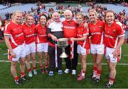 27 September 2015; Cork players, from left, Deirdre O'Reilly, Briege Corkery, Geraldine O'Flynn, Valerie Mulcahy, Bríd Stack and Rena Buckley, who have each won 10 All-Ireland Senior Football medals, with manager Eamonn Ryan and selector Frankie Honohan. TG4 Ladies Football All-Ireland Senior Championship Final, Croke Park, Dublin. Picture credit: Paul Mohan / SPORTSFILE