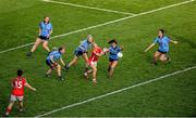 27 September 2015; Valerie Mulcahy, Cork, in action against Dublin players, left to right, Muireann Ní Scanaill, Sinéad Finnegan, Fiona Hudson, Sinéad Goldrick, and Molly Lamb. TG4 Ladies Football All-Ireland Senior Championship Final, Croke Park, Dublin. Picture credit: Dáire Brennan / SPORTSFILE