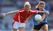 27 September 2015; Valerie Mulcahy, Cork, is tackled by Niamh Collins, Dublin. TG4 Ladies Football All-Ireland Senior Championship Final, Croke Park, Dublin. Picture credit: Ramsey Cardy / SPORTSFILE