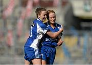 27 September 2015; Waterford players Karen McGrath, left, and Gráinne Kennedy celebrate after the game. TG4 Ladies Football All-Ireland Intermediate Championship Final, Kildare v Waterford, Croke Park, Dublin. Picture credit: Dáire Brennan / SPORTSFILE