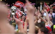 27 September 2015; Cork captain Ciara O'Sullivan lifts the Brendan Martin Cup. TG4 Ladies Football All-Ireland Senior Championship Final, Croke Park, Dublin. Picture credit: Paul Mohan / SPORTSFILE