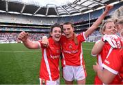 27 September 2015; Doireann O'Sullivan, left, and Annie Walsh, Cork, celebrate after the game. TG4 Ladies Football All-Ireland Senior Championship Final, Croke Park, Dublin. Picture credit: Paul Mohan / SPORTSFILE