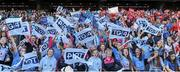 27 September 2015; Dublin supporters cheer on their team before the game. TG4 Ladies Football All-Ireland Senior Championship Final, Croke Park, Dublin. Picture credit: Dáire Brennan / SPORTSFILE