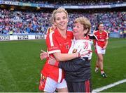 27 September 2015; Valerie O'Sullivan, Cork, celebrates with mentor Bridget O'Brien after the game. TG4 Ladies Football All-Ireland Senior Championship Final, Croke Park, Dublin. Picture credit: Paul Mohan / SPORTSFILE