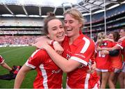 27 September 2015; Jess O'Shea, left, and Emma Farmer, Cork, celebrate after the game. TG4 Ladies Football All-Ireland Senior Championship Final, Croke Park, Dublin. Picture credit: Paul Mohan / SPORTSFILE