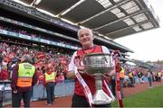 27 September 2015; Cork manager Eamonn Ryan with the Brendan Martin Cup after the game. TG4 Ladies Football All-Ireland Senior Championship Final, Croke Park, Dublin. Picture credit: Paul Mohan / SPORTSFILE