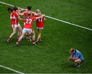 27 September 2015; Cork players celebrate as a dejected Sarah McCaffrey, Dublin, gathers her thoughts. TG4 Ladies Football All-Ireland Senior Championship Final, Croke Park, Dublin. Picture credit: Dáire Brennan / SPORTSFILE