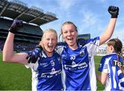 27 September 2015; Mairéad Wall, left, and Hannah Landers, Waterford, celebrate after the game. TG4 Ladies Football All-Ireland Intermediate Championship Final, Kildare v Waterford, Croke Park, Dublin. Picture credit: Paul Mohan / SPORTSFILE